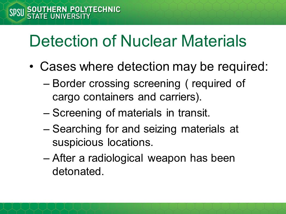Detection of Nuclear Materials