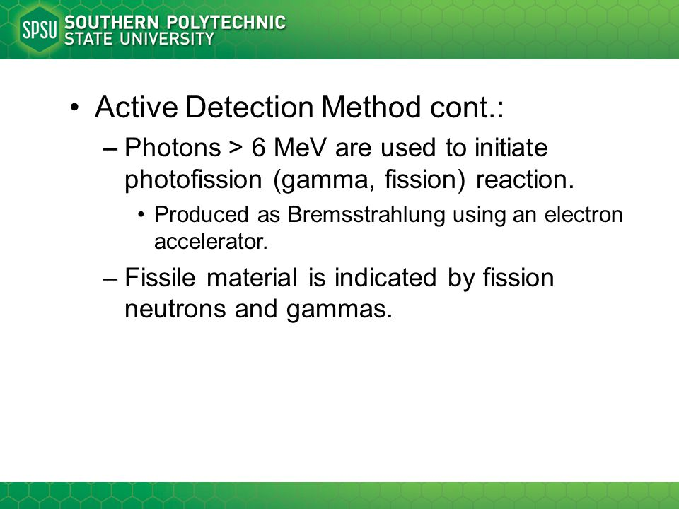 Active Detection Method cont.: