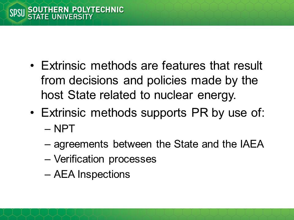 Extrinsic methods supports PR by use of: