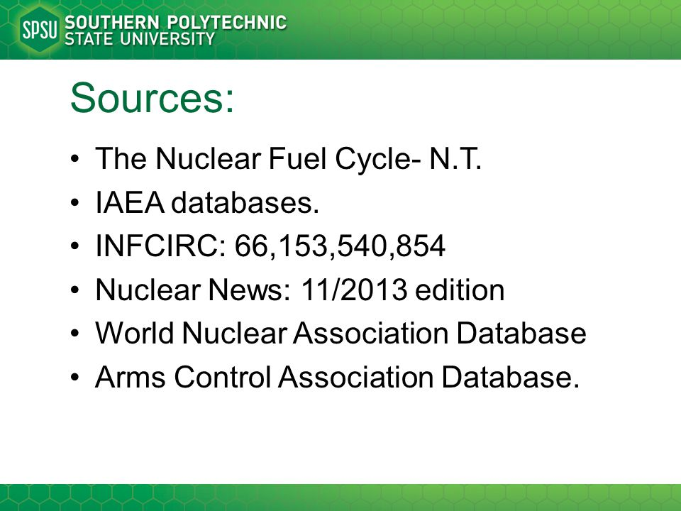 Sources: The Nuclear Fuel Cycle- N.T. IAEA databases.