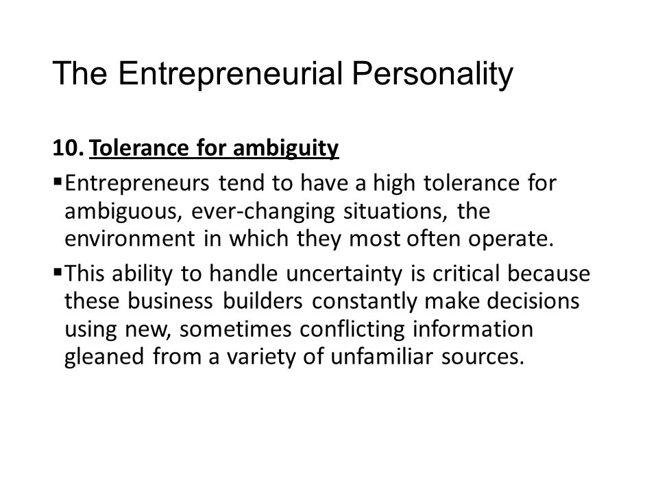 The Entrepreneurial Personality