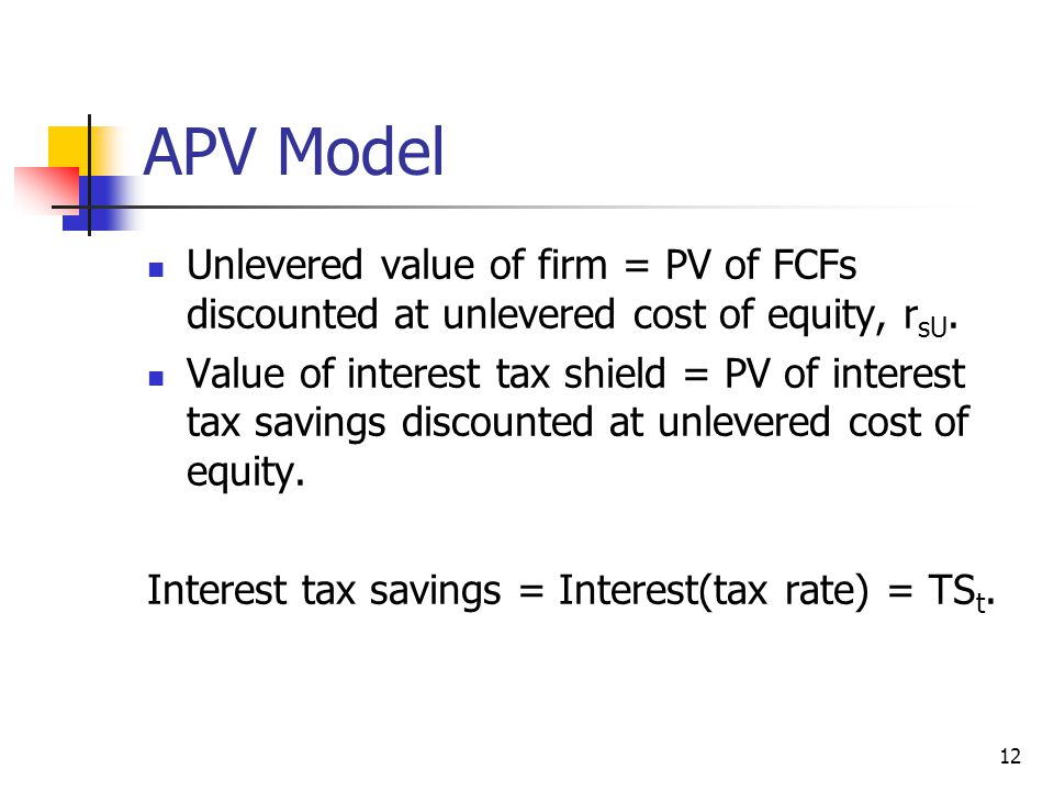 APV Model Unlevered value of firm = PV of FCFs discounted at unlevered cost of equity, rsU.