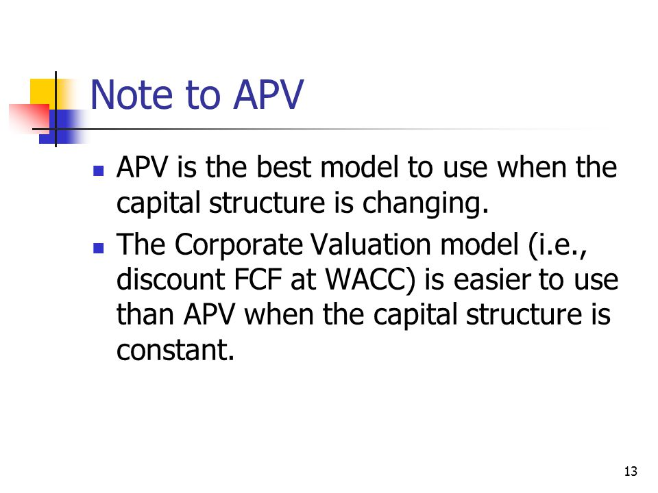 Note to APV APV is the best model to use when the capital structure is changing.