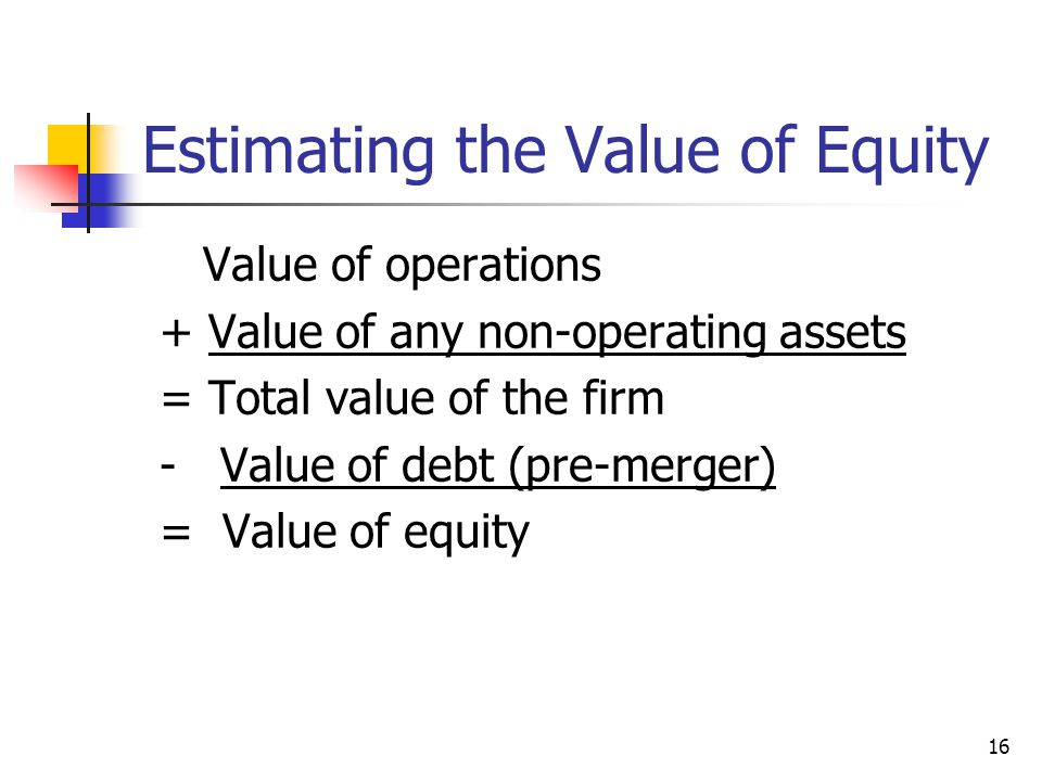 Estimating the Value of Equity