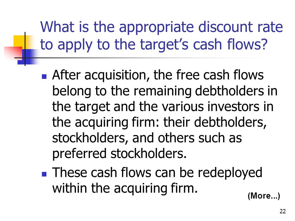 What is the appropriate discount rate to apply to the target's cash flows