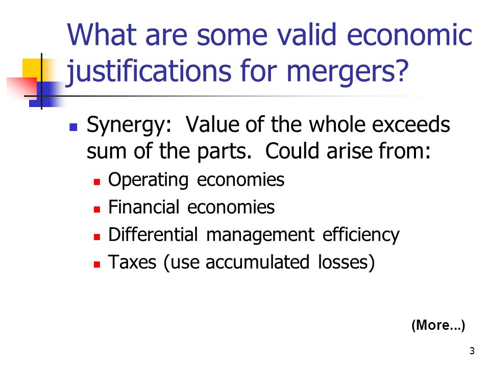 What are some valid economic justifications for mergers