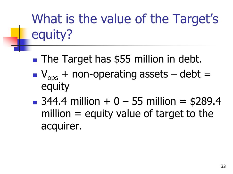 What is the value of the Target's equity