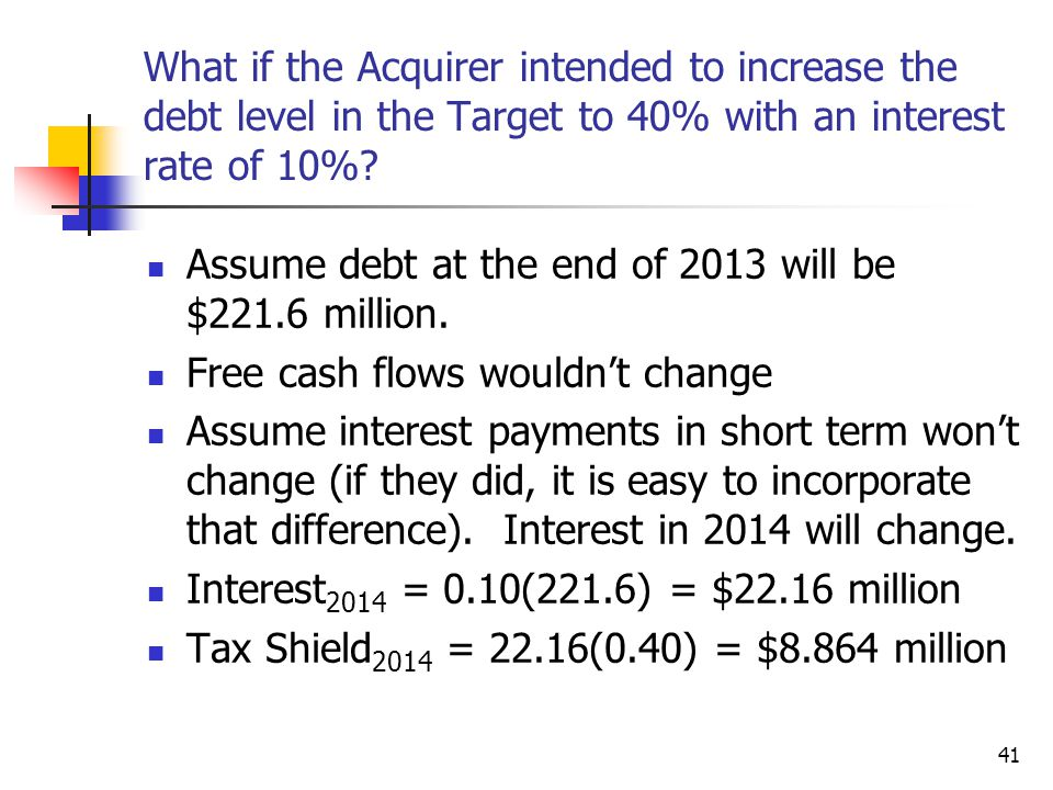 What if the Acquirer intended to increase the debt level in the Target to 40% with an interest rate of 10%