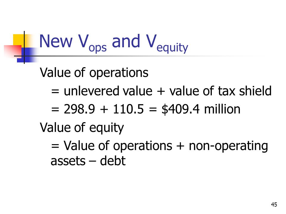New Vops and Vequity Value of operations