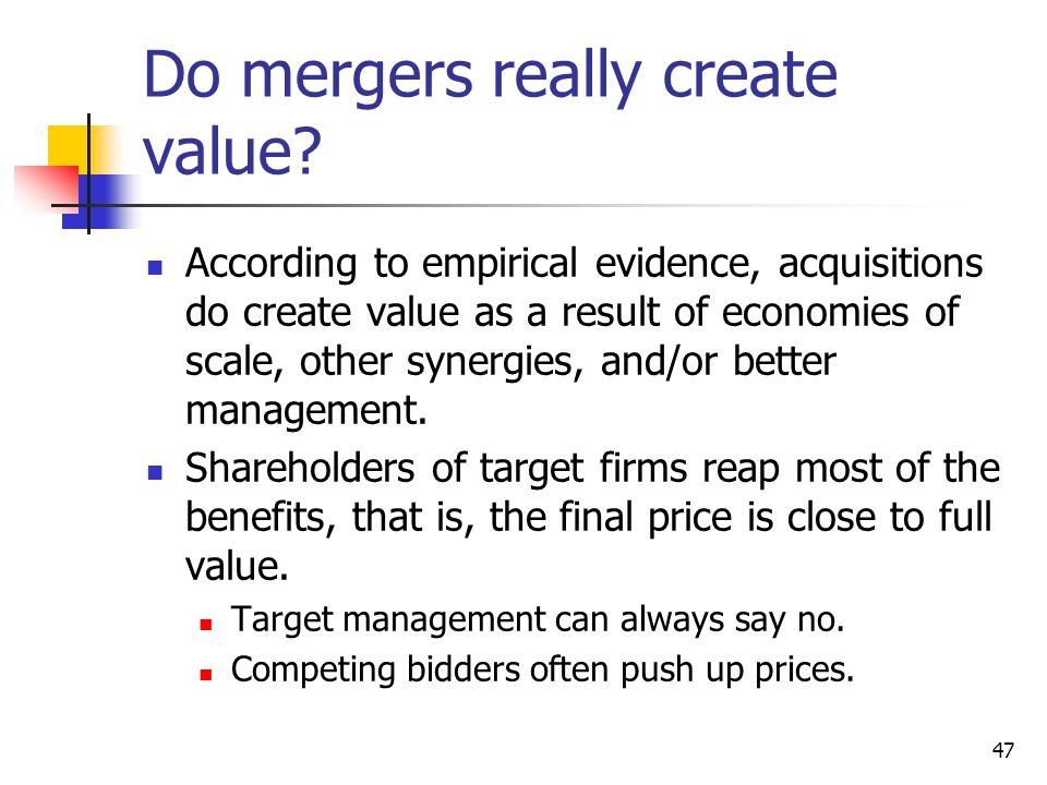 Do mergers really create value