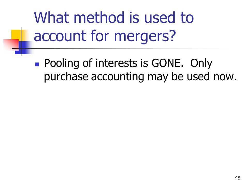 What method is used to account for mergers