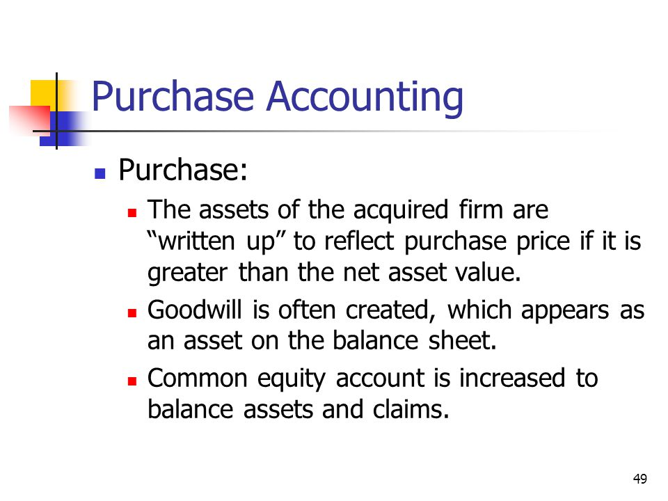 Purchase Accounting Purchase: