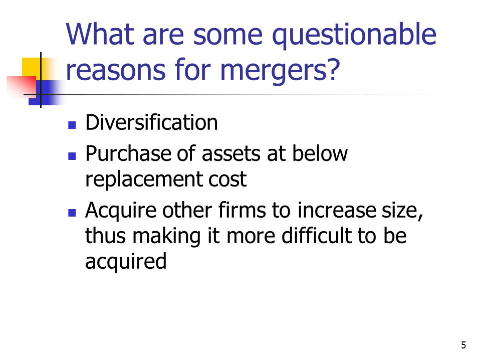 What are some questionable reasons for mergers