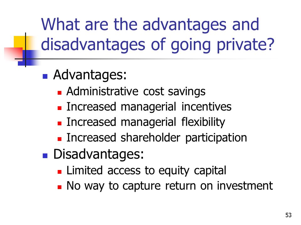 What are the advantages and disadvantages of going private