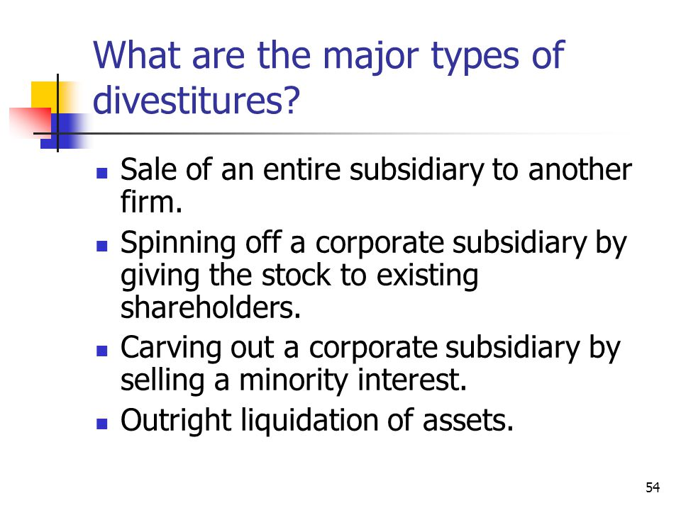 What are the major types of divestitures