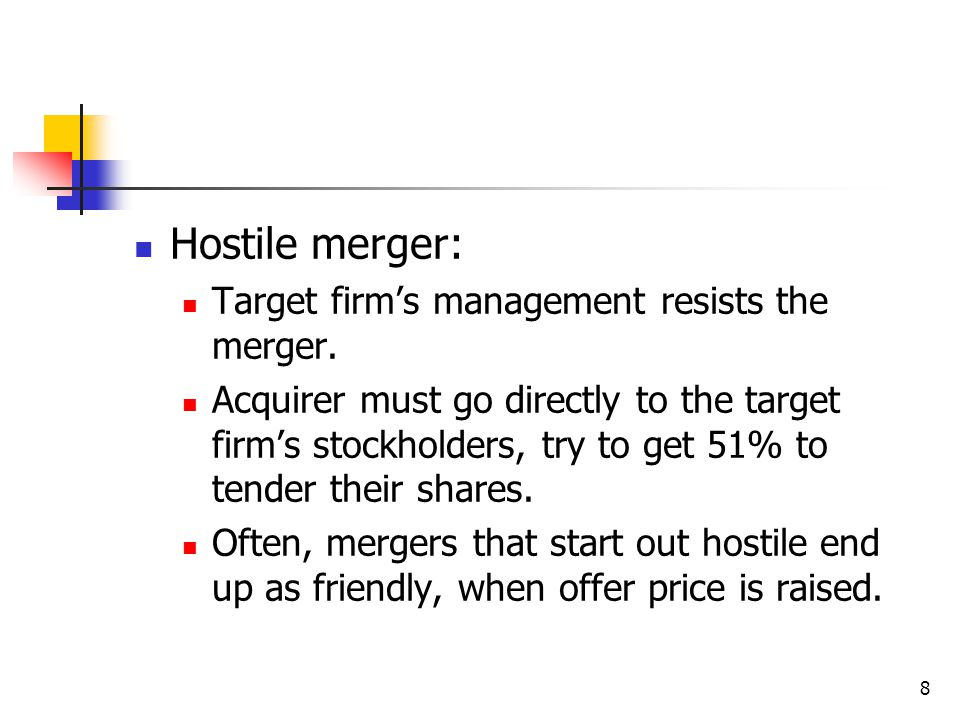 Hostile merger: Target firm's management resists the merger.