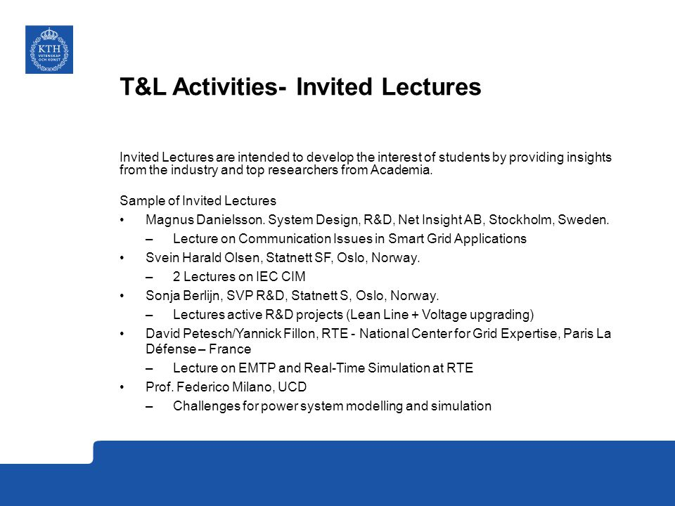 T&L Activities- Invited Lectures