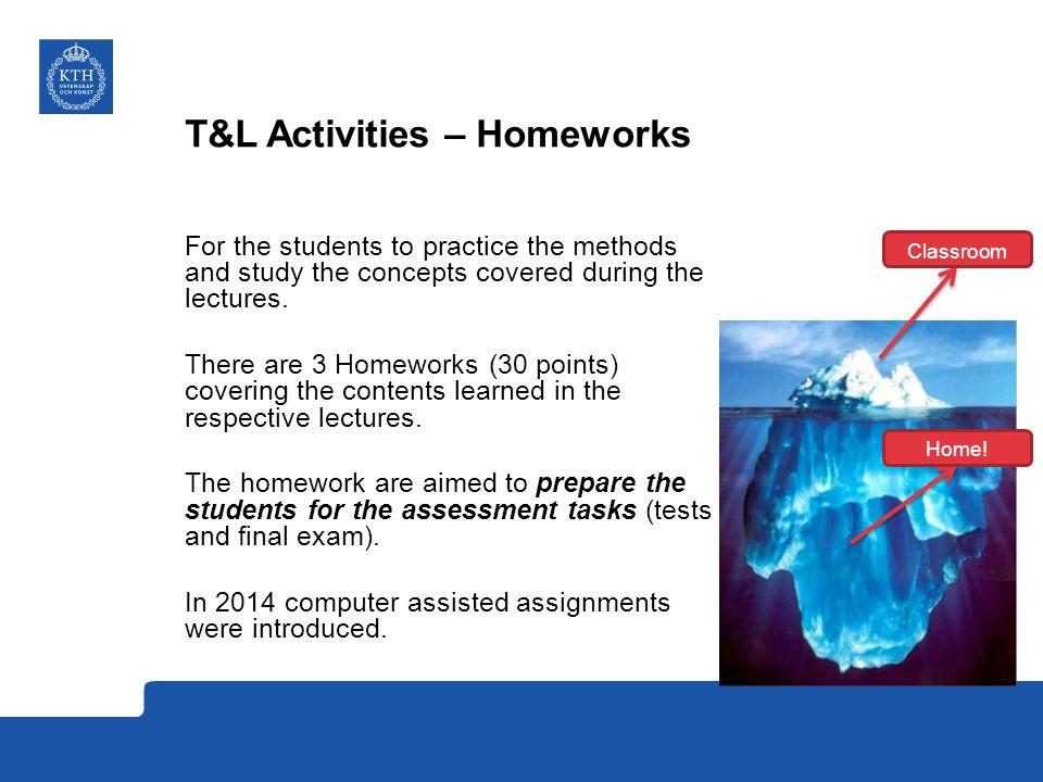 T&L Activities – Homeworks