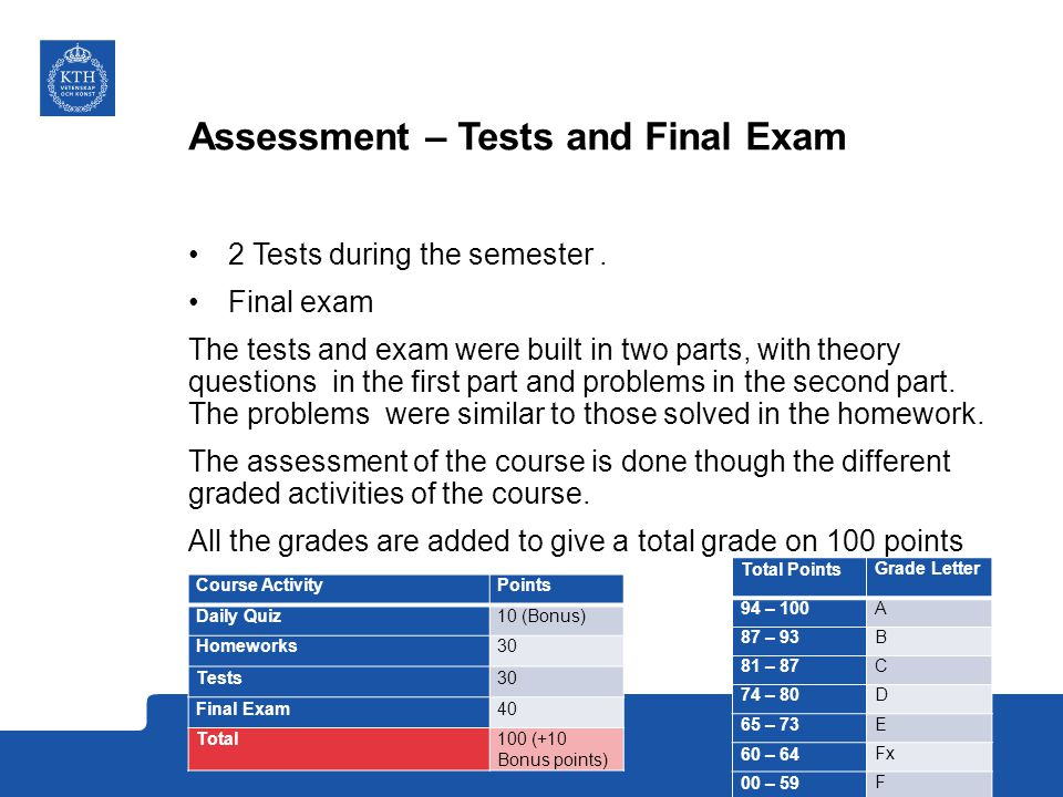 Assessment – Tests and Final Exam