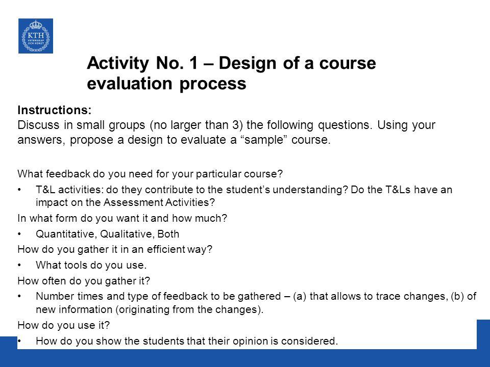 Activity No. 1 – Design of a course evaluation process