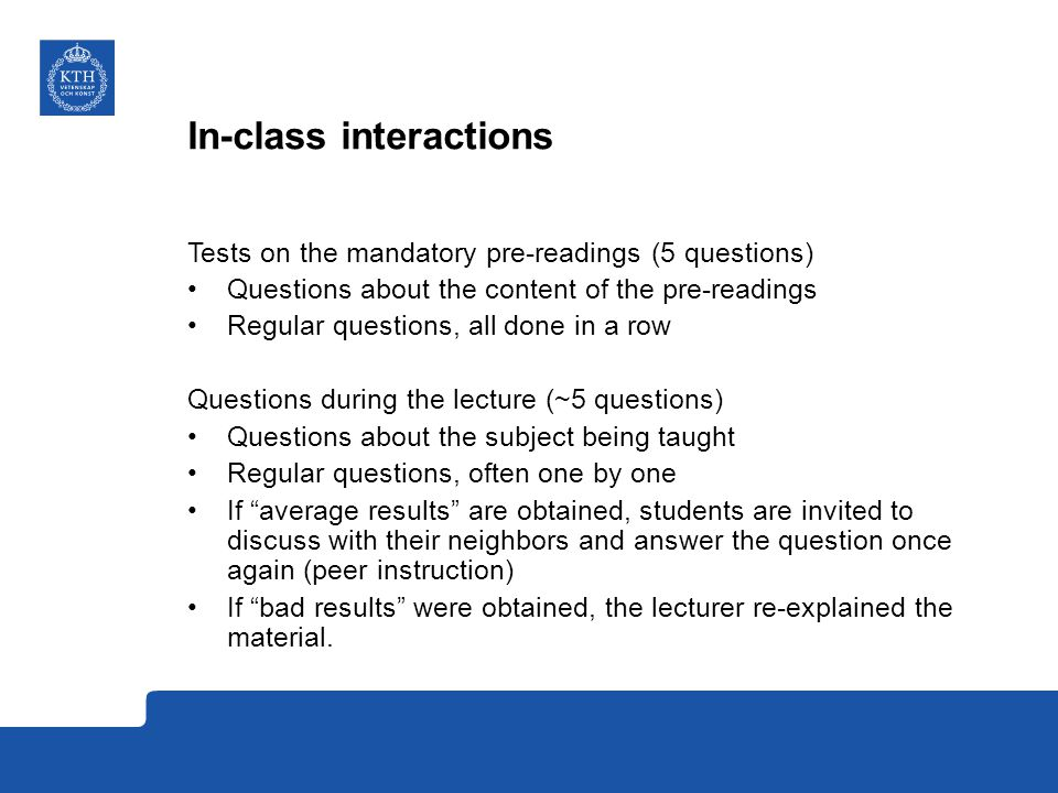 In-class interactions