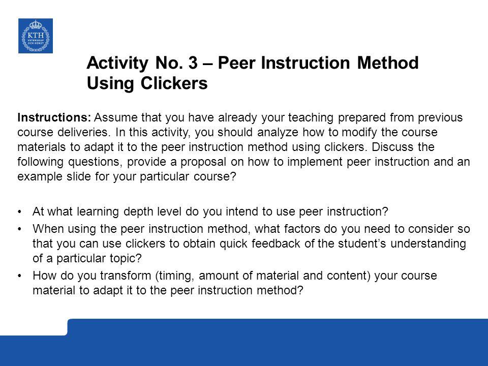 Activity No. 3 – Peer Instruction Method Using Clickers