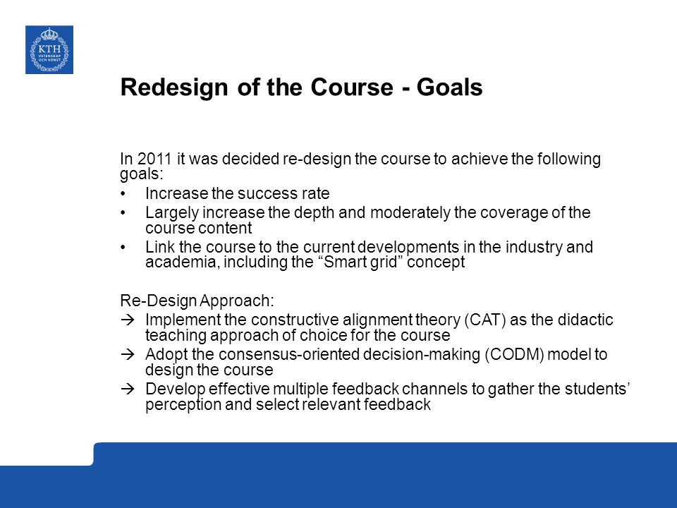 Redesign of the Course - Goals