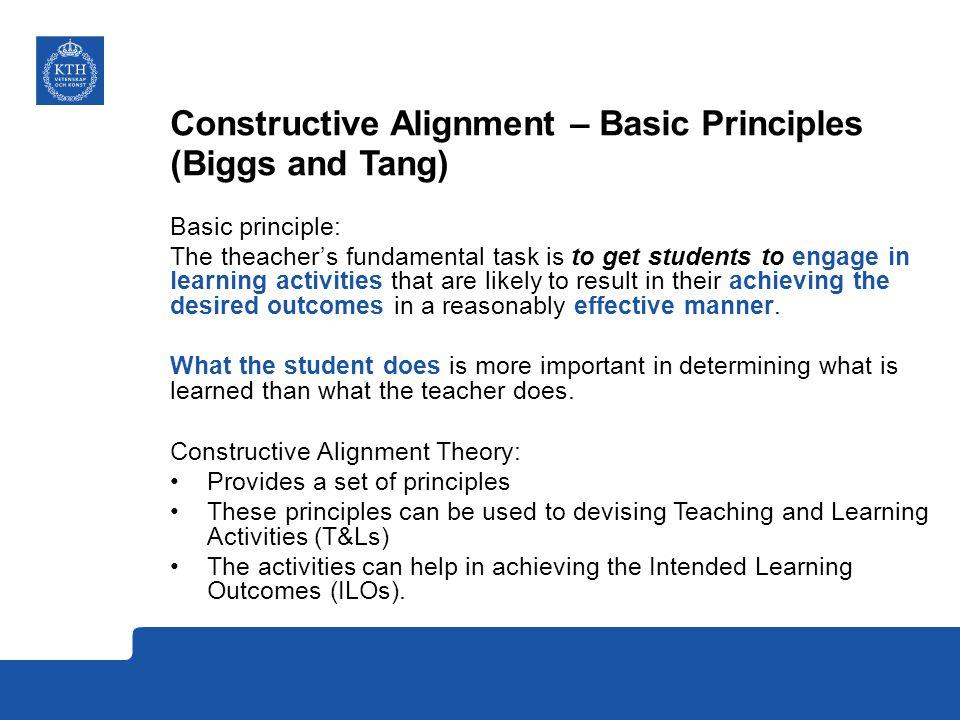 Constructive Alignment – Basic Principles (Biggs and Tang)
