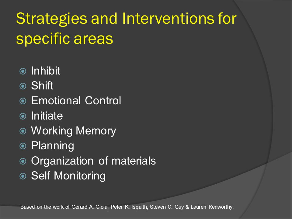 Strategies and Interventions for specific areas
