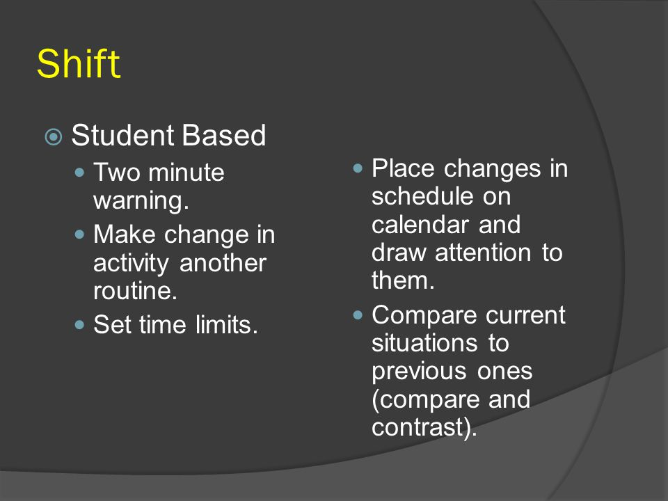Shift Student Based Two minute warning.