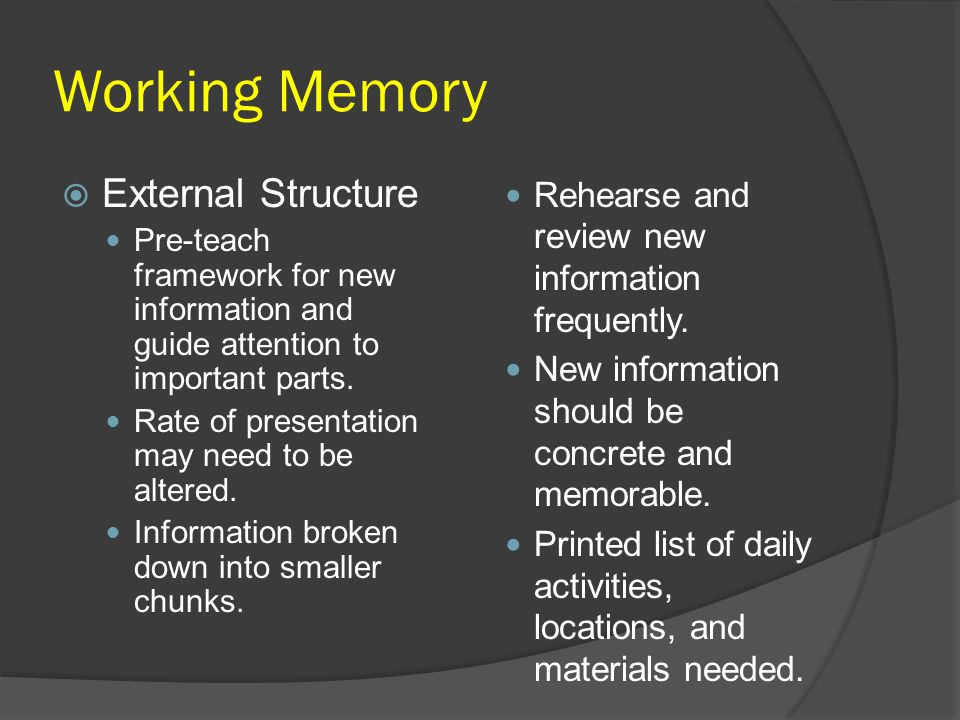 Working Memory External Structure