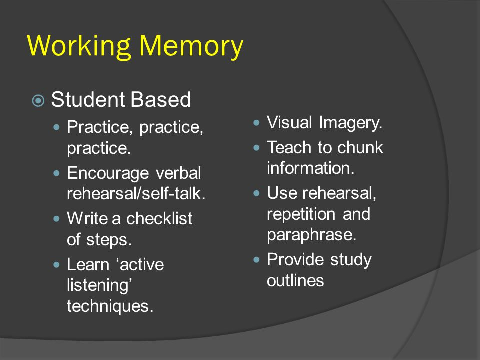 Working Memory Student Based Visual Imagery.