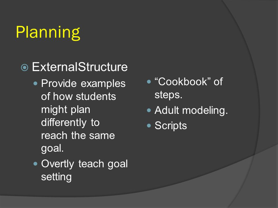 Planning ExternalStructure Cookbook of steps.