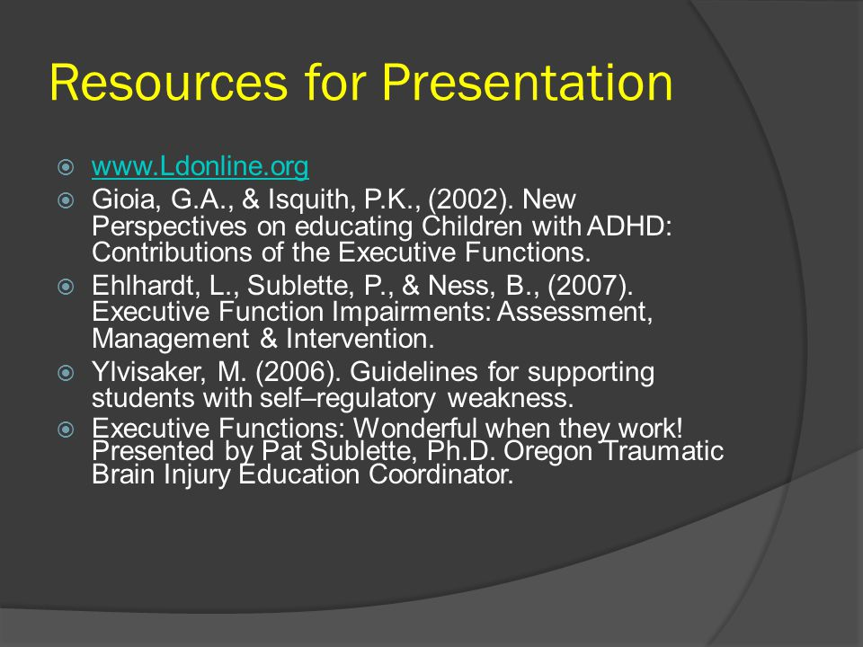 Resources for Presentation