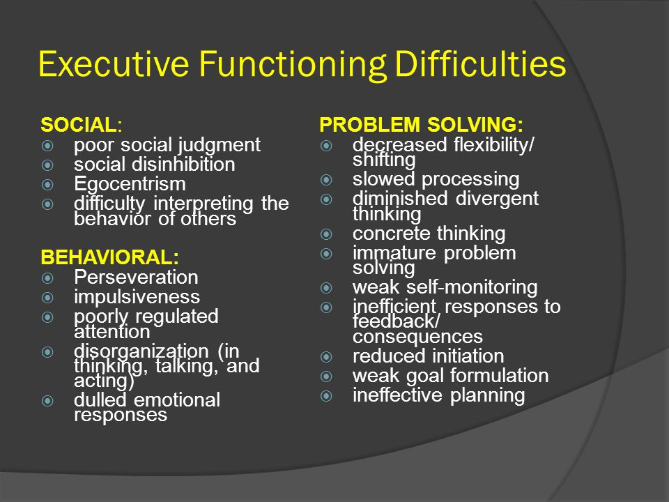 Executive Functioning Difficulties