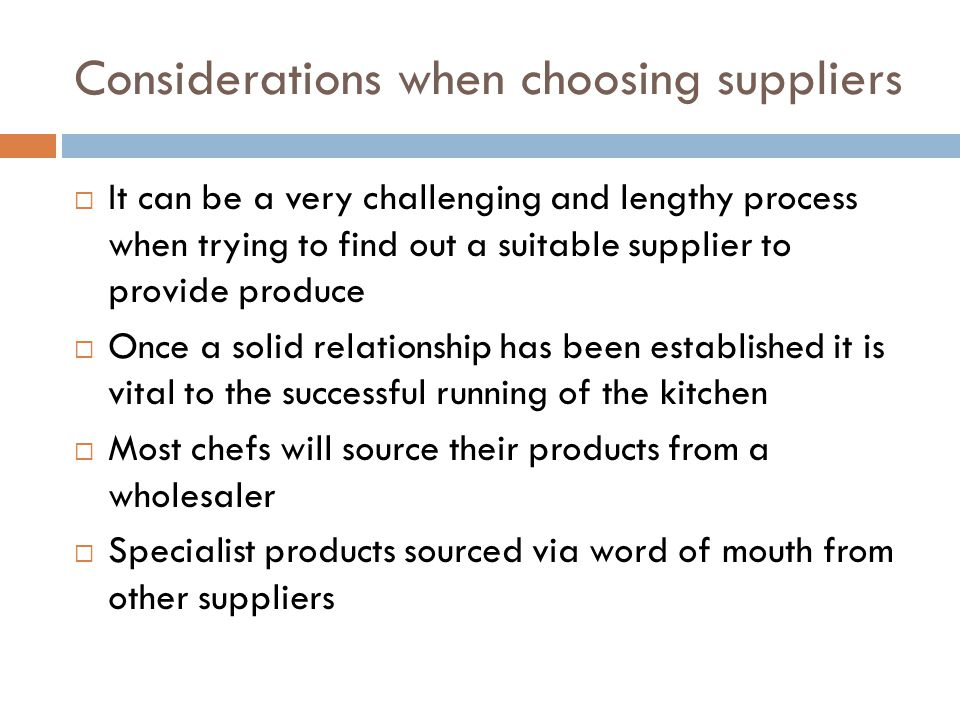 Considerations when choosing suppliers