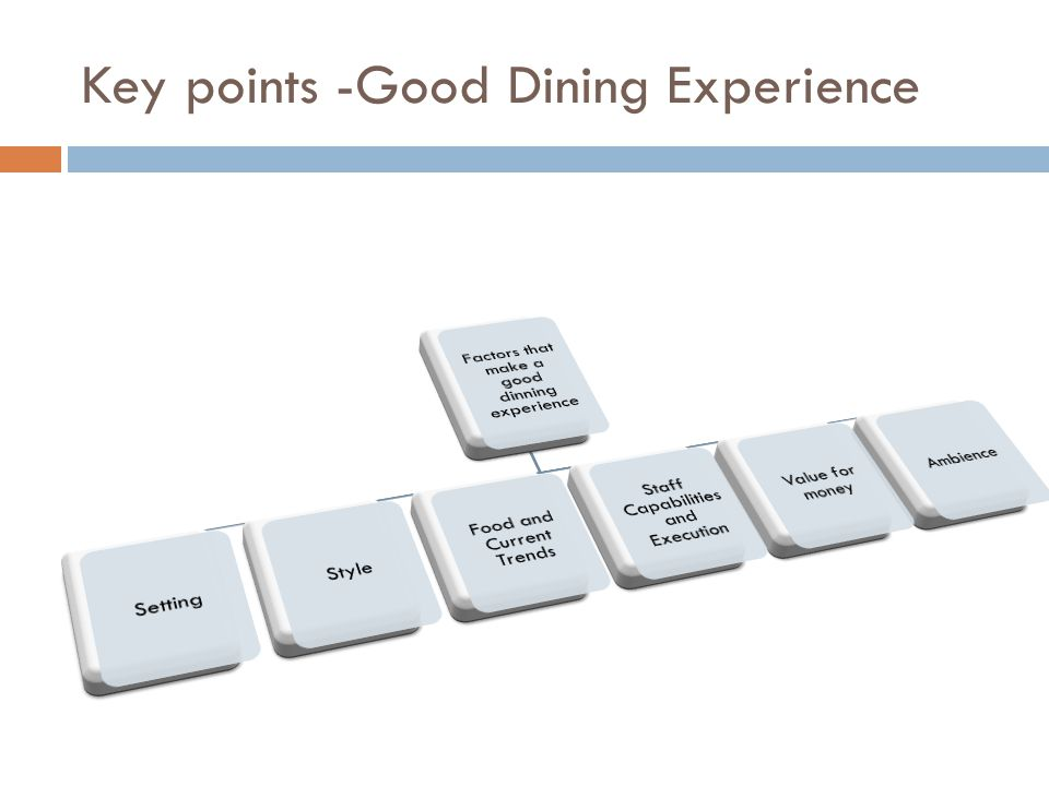 Key points -Good Dining Experience