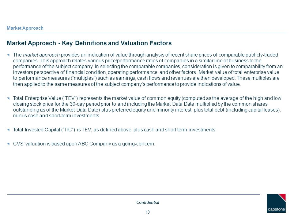 Market Approach - Key Definitions and Valuation Factors