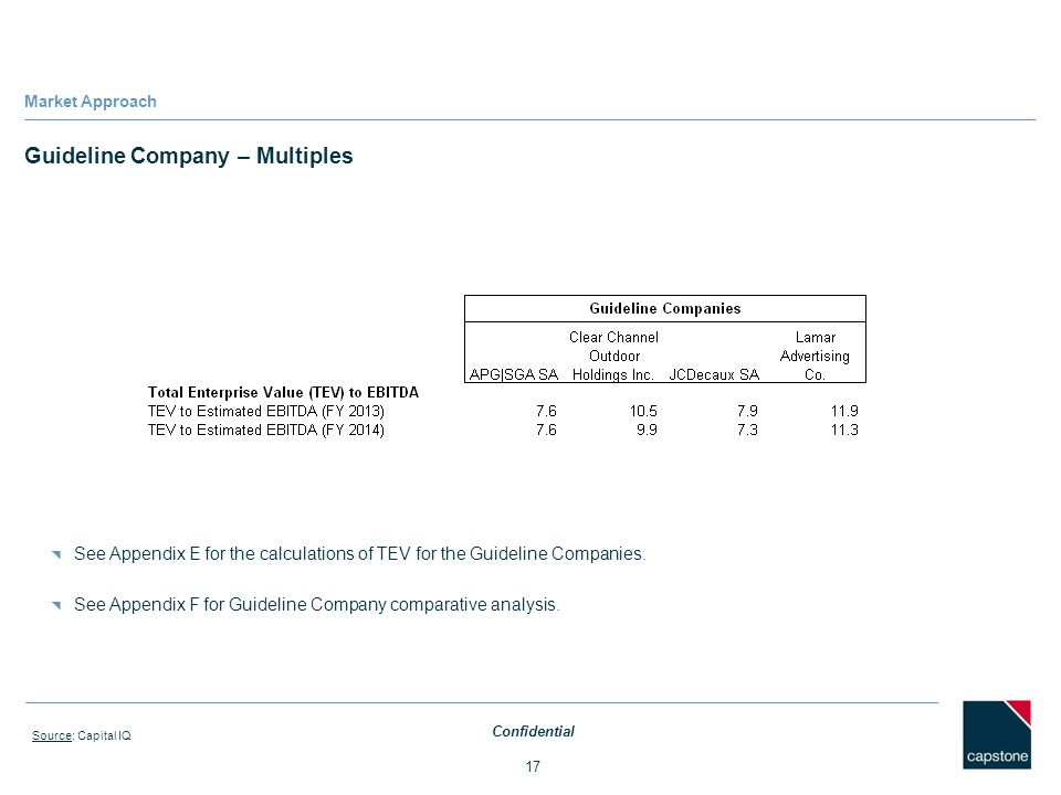 Guideline Company – Multiples