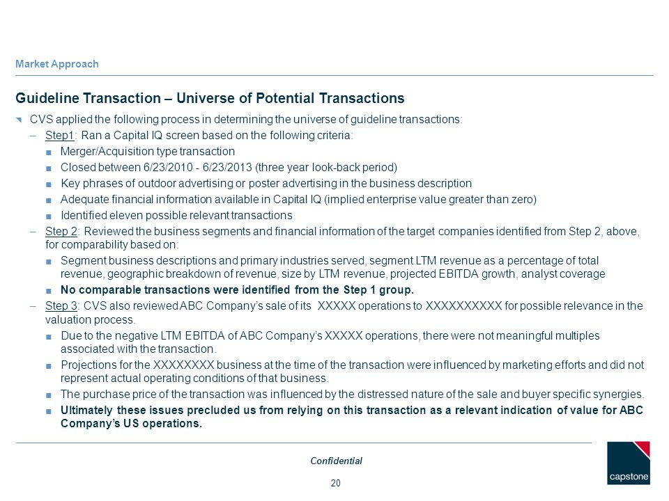 Guideline Transaction – Universe of Potential Transactions