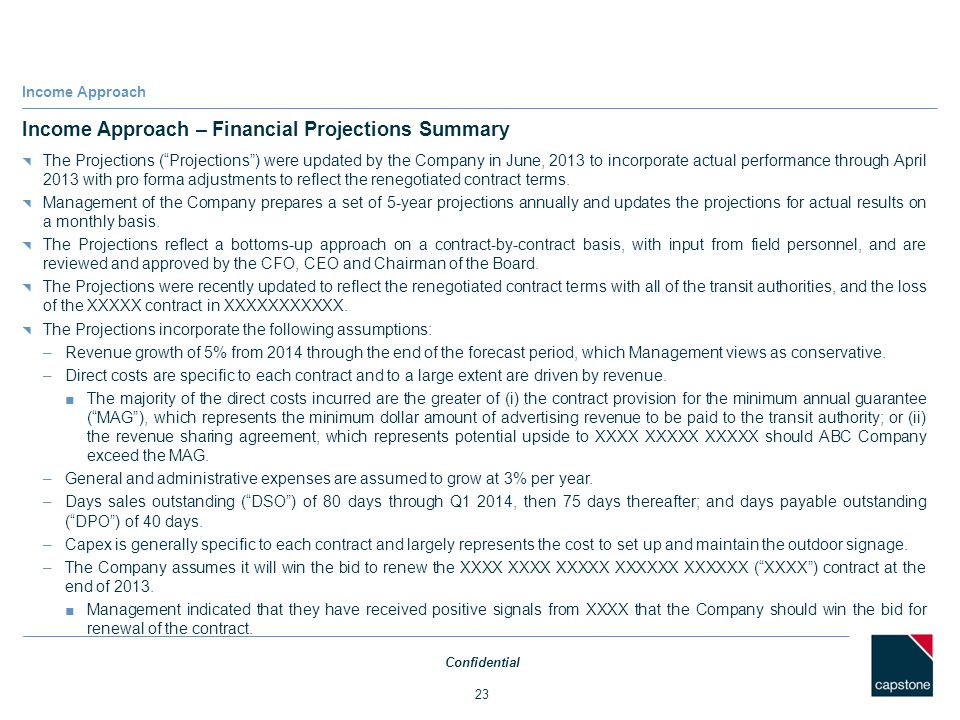 Income Approach – Financial Projections Summary