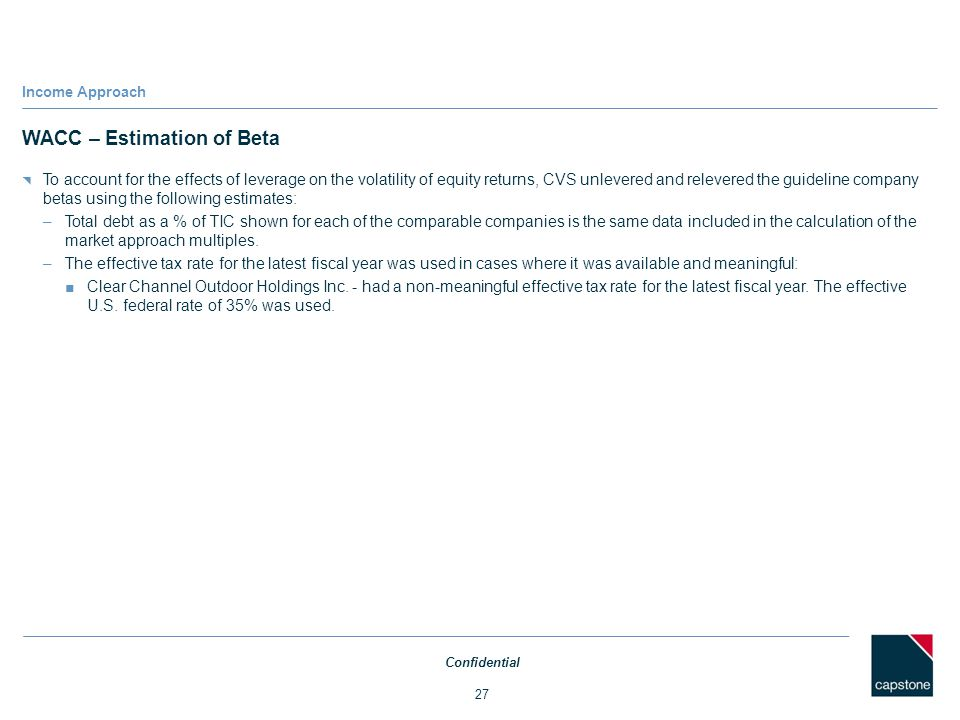 WACC – Estimation of Beta