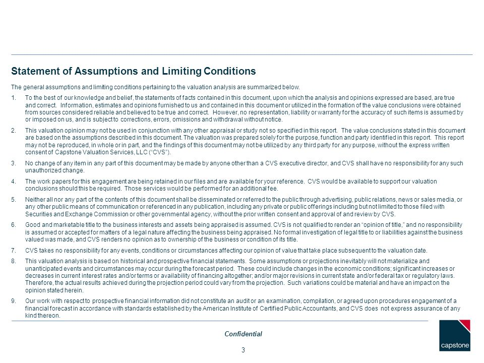 Statement of Assumptions and Limiting Conditions