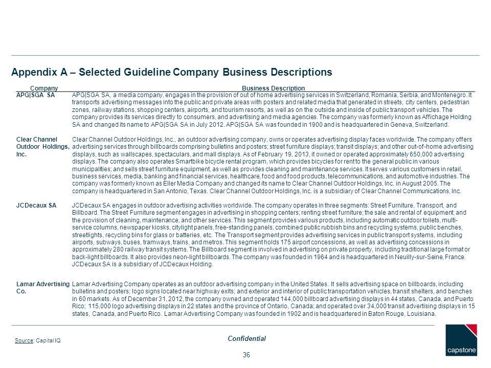 Appendix A – Selected Guideline Company Business Descriptions