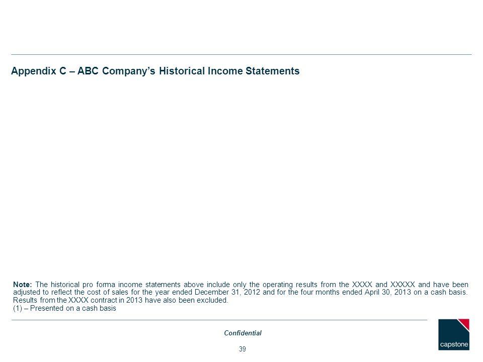 Appendix C – ABC Company's Historical Income Statements