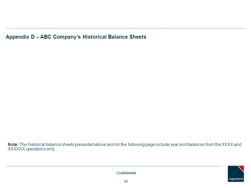 Appendix D – ABC Company's Historical Balance Sheets