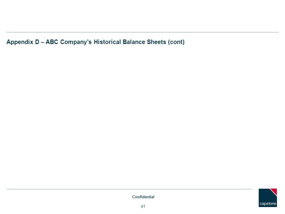 Appendix D – ABC Company's Historical Balance Sheets (cont)