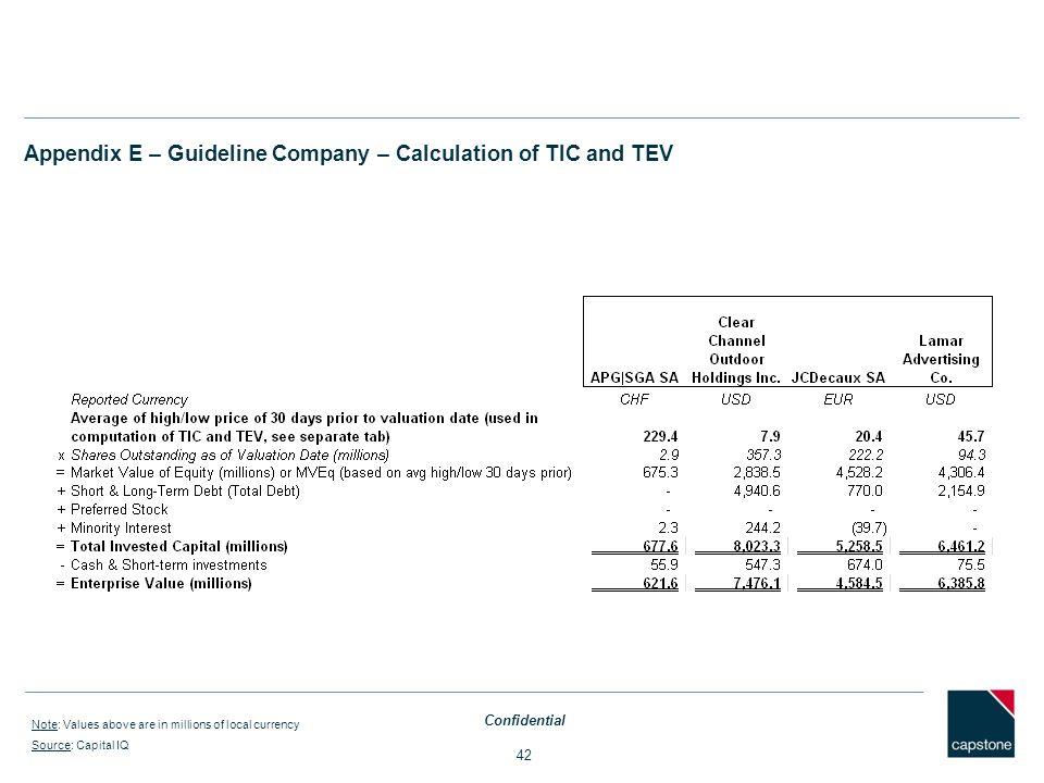 Appendix E – Guideline Company – Calculation of TIC and TEV