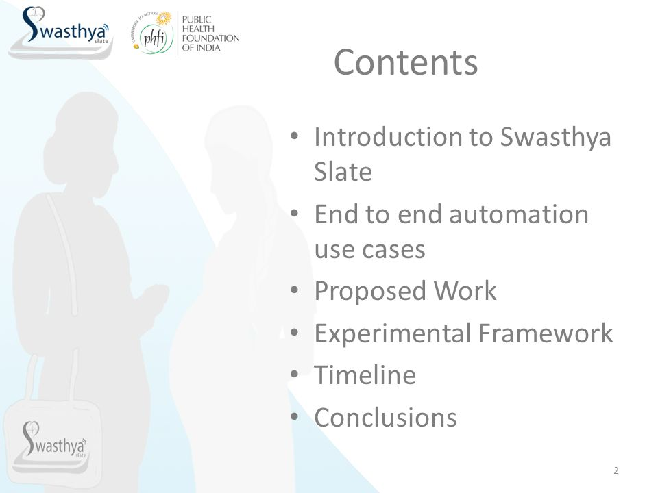 Contents Introduction to Swasthya Slate