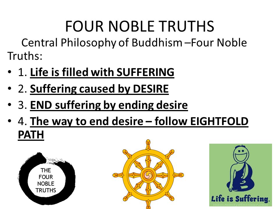 FOUR NOBLE TRUTHS Central Philosophy of Buddhism –Four Noble Truths: